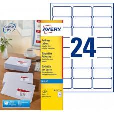 Etiquette pour timbres 33,9 x 63,5 mm, Blanc, Jet d'encre AVERY J8159-10