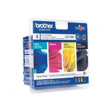 Brother LC1100 Value Pack - Pack de 4 - noir, jaune, cyan, magenta - original - blister - cartouche d'encre - pour DCP 185C, 385C, 585CW, 6690CW; MFC 490CW, 5490CN, 5890CN, 6490CW, 990cw