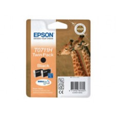 Epson T0711 Twin Pack - Pack de 2 - haute capacité - noir - original - blister - cartouche d'encre - pour Stylus SX210, SX215, SX410, SX415, SX510, SX515, SX610; Stylus Office B1100, BX310, BX610