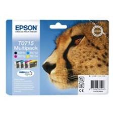 Epson Multipack T0715 - Pack de 4 - noir, jaune, cyan, magenta - original - blister - cartouche d'encre - pour Stylus DX9400, SX115, SX210, SX215, SX218, SX415, SX515, SX610; Stylus Office BX310, BX610
